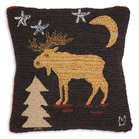 Hooked Wool Pillow - Night Moose