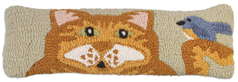 Hooked Wool Pillow - Orange Cat