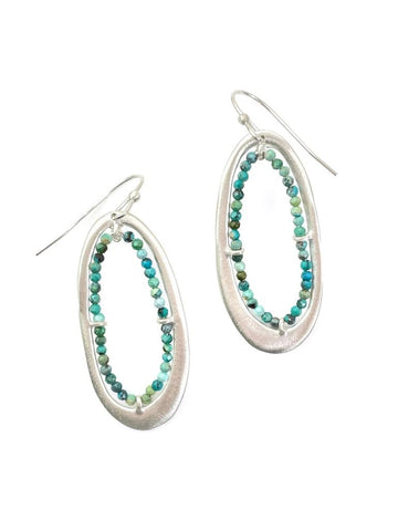 Silver & Turquoise Ovals Earrings