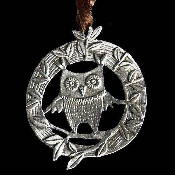 Pewter Ornament - Owl's Hollow