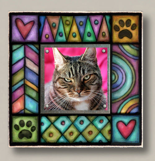 Small Magnetic Picture Frame - 'Paw / Heart'