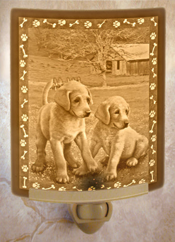 Porcelain Night Light - Puppies