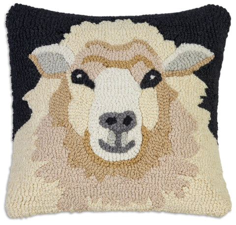 Hooked Wool Pillow - Sheep Face