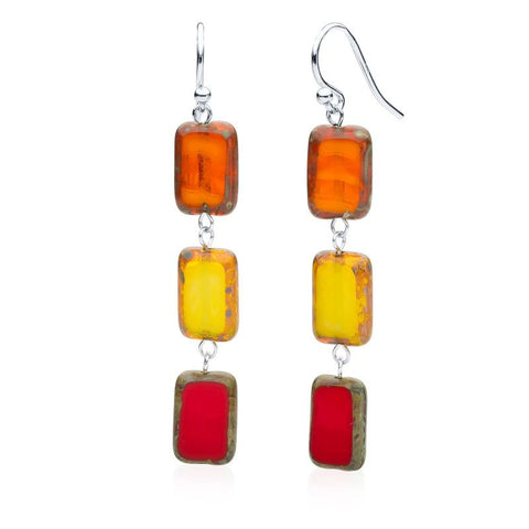 3-Tile Trilogy Earrings - Fire Mix