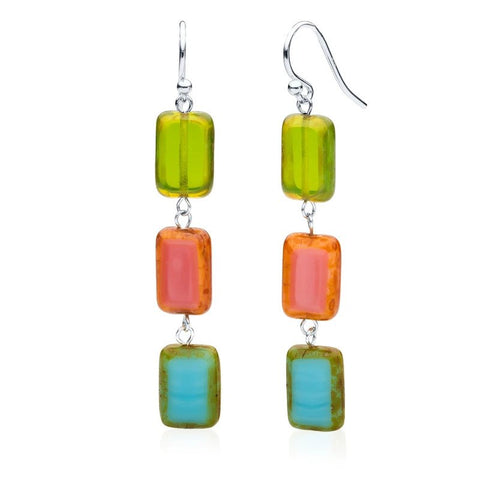 3-Tile Trilogy Earrings - South Beach Mix
