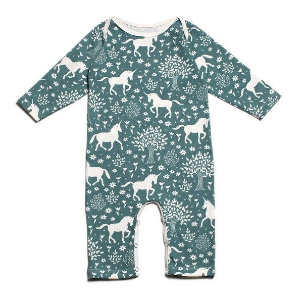 Unicorns Long Sleeve Teal Romper
