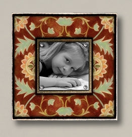 Small Magnetic Picture Frame - 'Vintage Amber Floral'