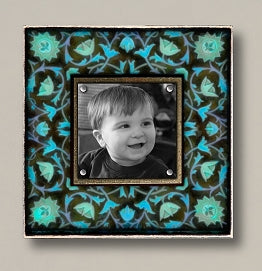 Small Magnetic Picture Frame - 'Vintage Blue Floral'