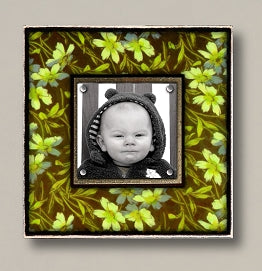 Small Magnetic Picture Frame - 'Vintage Green Floral'