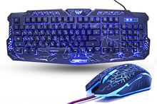 Load image into Gallery viewer, Purple/Red/Blue LED Gaming Keyboard Combo