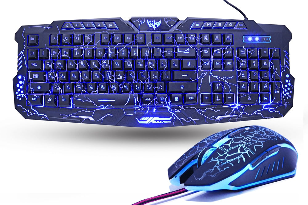 Purple/Red/Blue LED Gaming Keyboard Combo