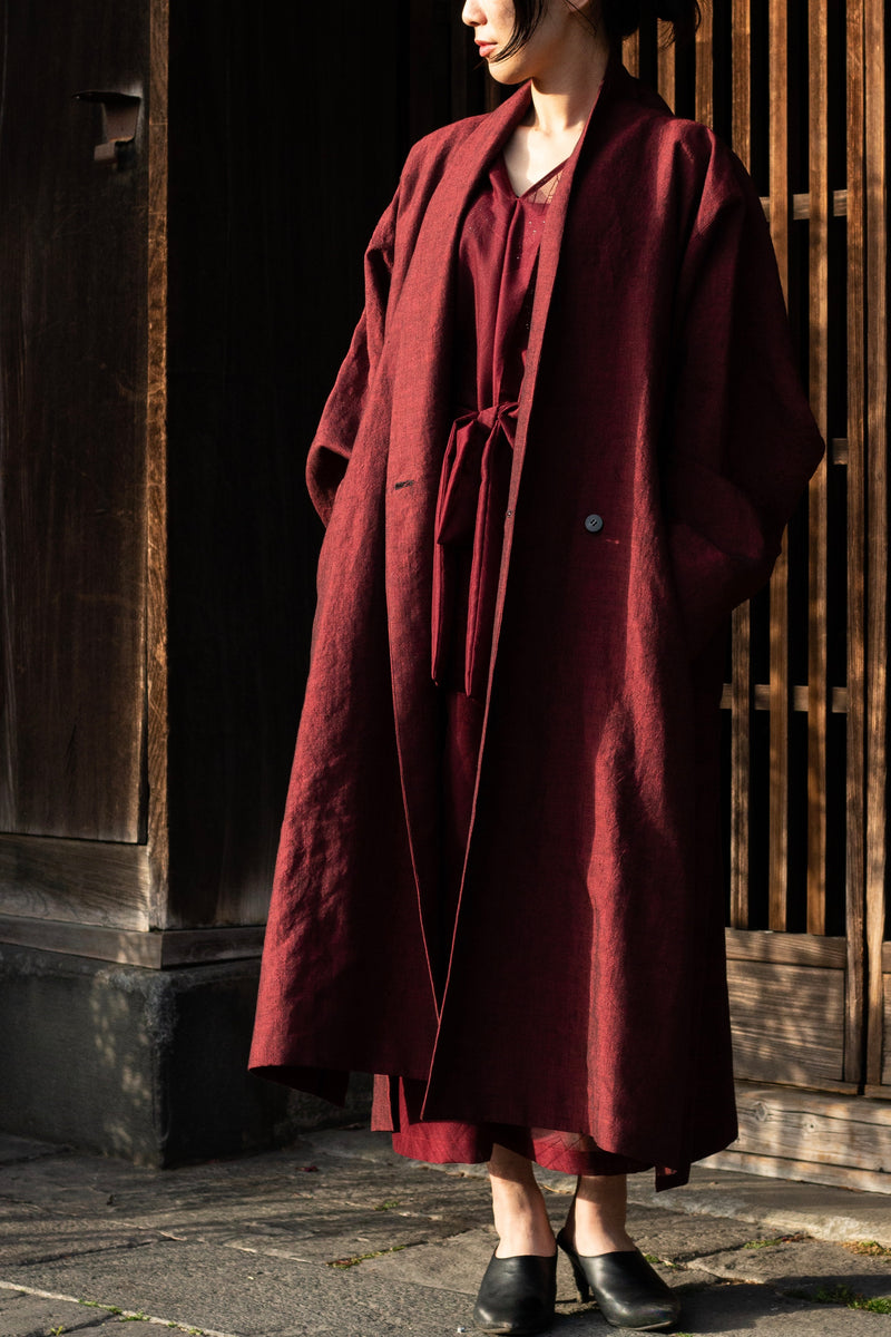 Linenwool Slit Coat Red | YANTOR