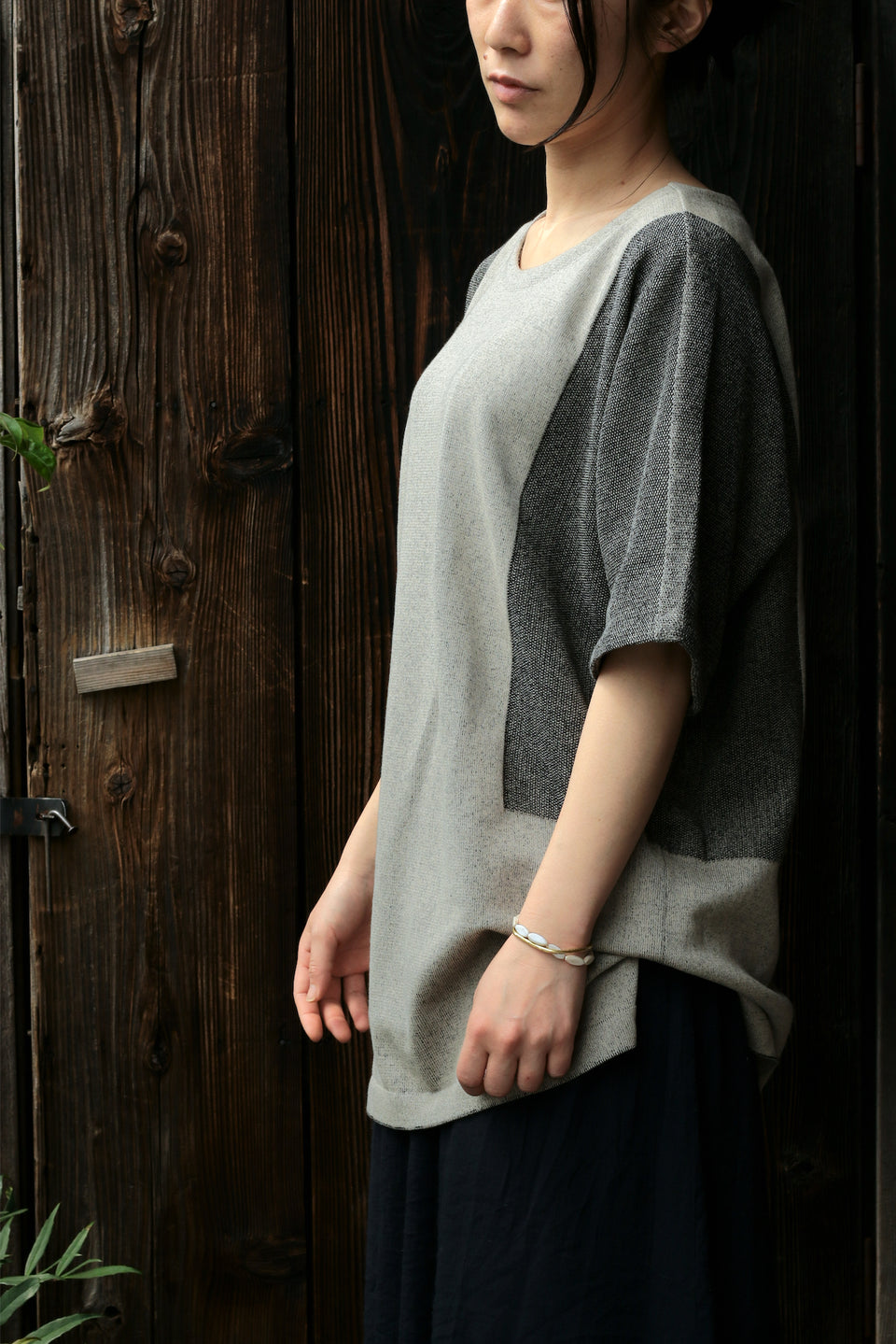 12G Cotton Dolman Knit Gray beige | YANTOR