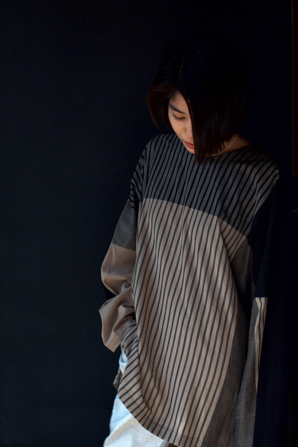 Stripe Khadi Cotton Merge Long Pullover-Beige | YANTOR