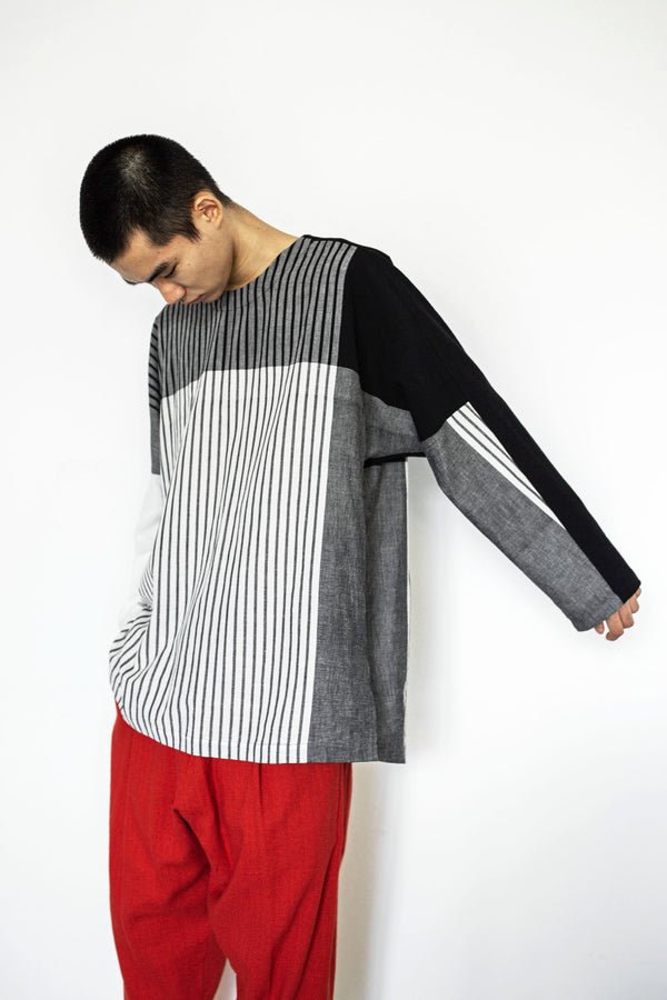 Stripe Khadi Cotton Merge Long Pullover-White | YANTOR
