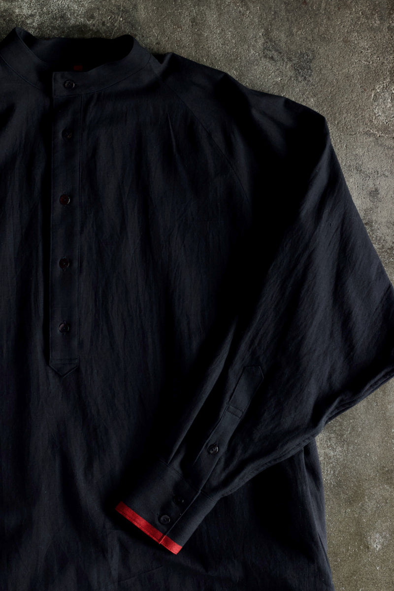 Salvage Khadi Cotton Merge Long Shirts-Black | YANTOR