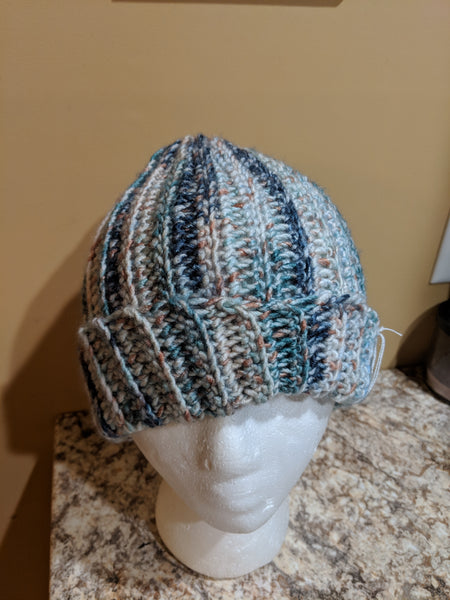 Vertical Striped Messy Bun Hat