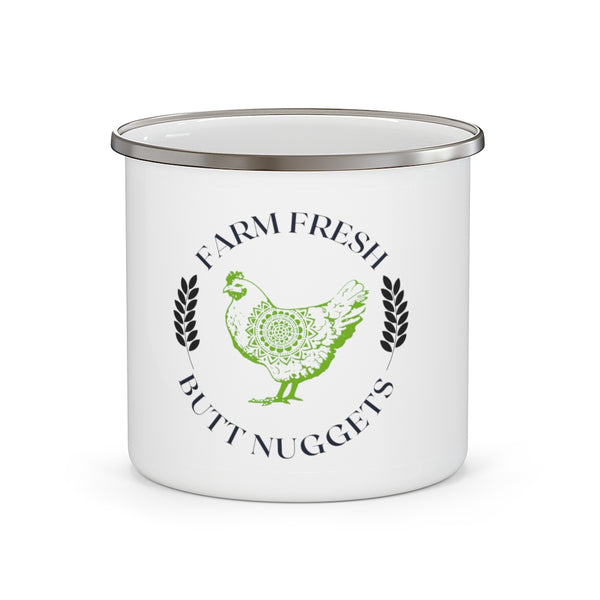 Farm Fresh Butt Nuggets Enamel Camping Mug