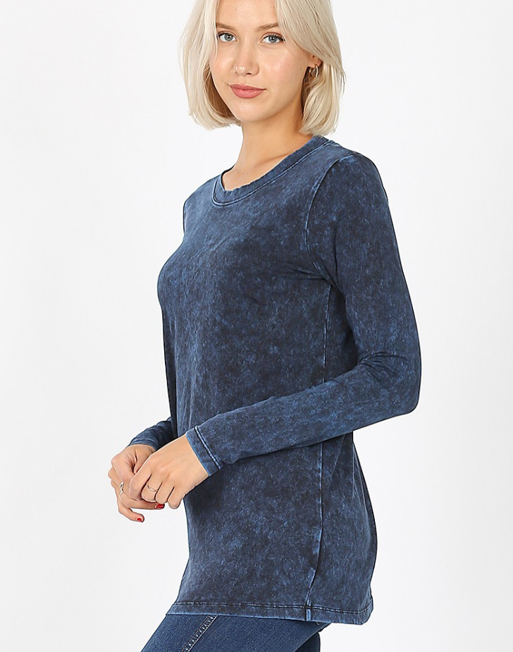 MINERAL WASH BASIC LONG SLEEVE T