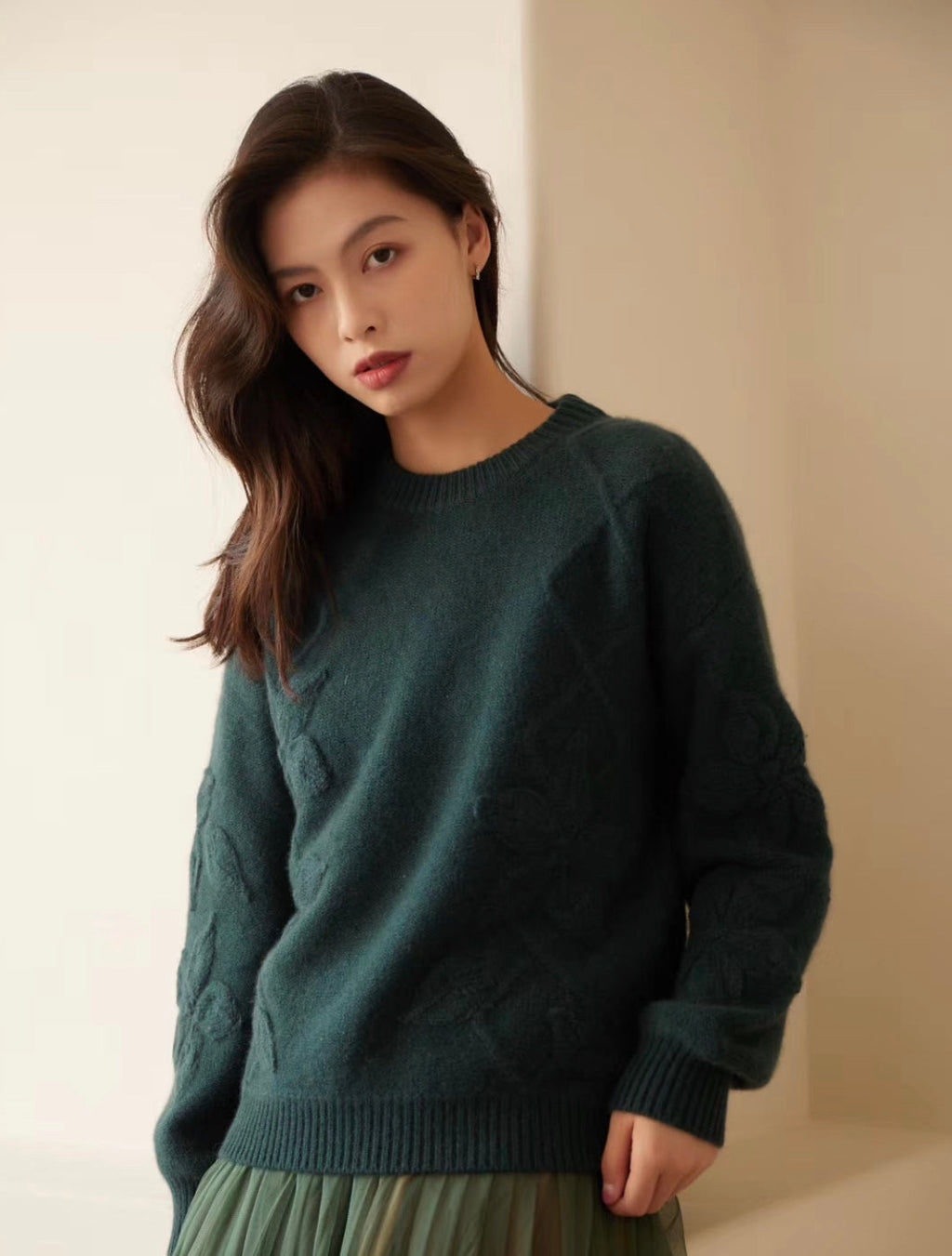 CHEN 19271 EMBROIDERED CASHMERE SWEATER