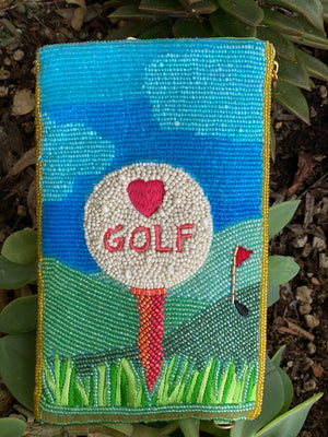 Golf Lover Beaded Crossbody Phone Bag