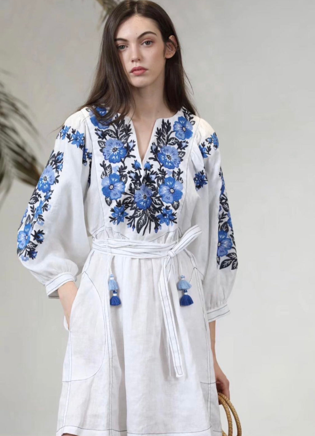 ZHUJ BLUE EMBROIDERY LINEN DRESS