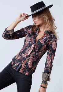 CINO BLACK AND RED PARSLEY BLOUSE