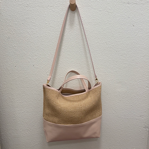 ALICE.D RAFFIA LEATHER MEDIUM TOTE
