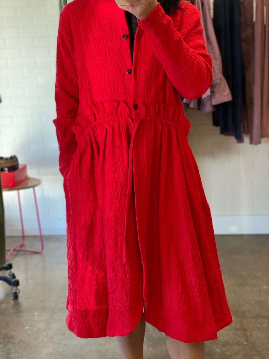 Guan Red Linen Wool Coat with Tie