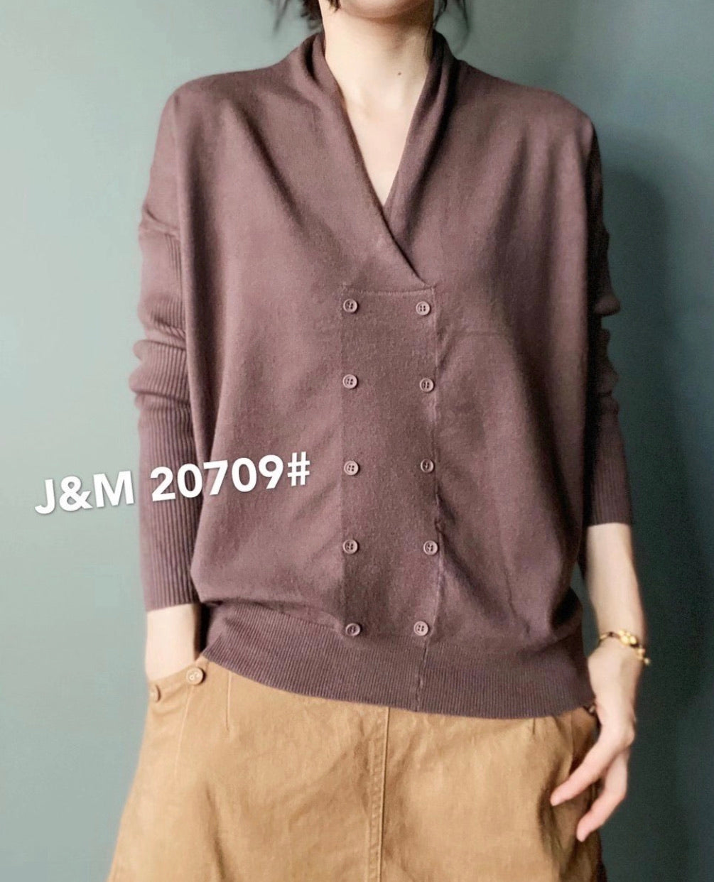 J.M. 20709 Button Top 40% Cotton, 40% Modal, 20% Polyester
