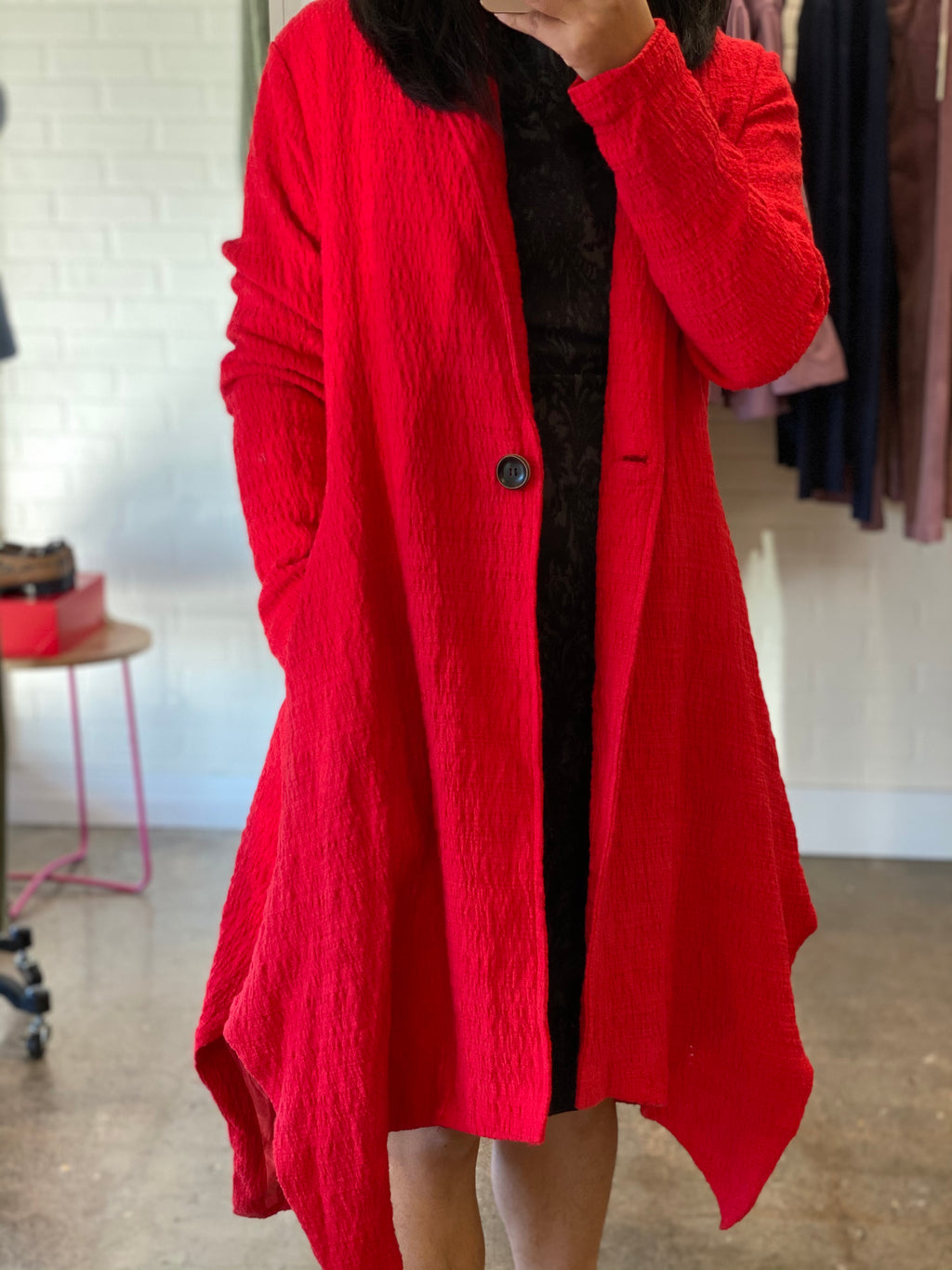 GUAN RED LINEN WOOL COAT