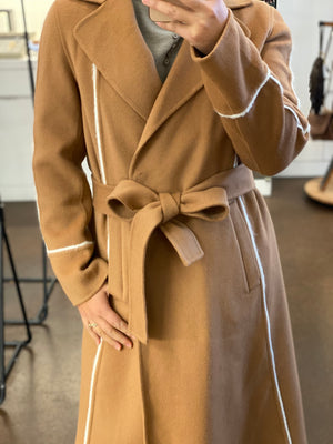 GUAN 8080077C CAMEL COAT 100%WOOL OUTSIDE, 100% POLY LINING