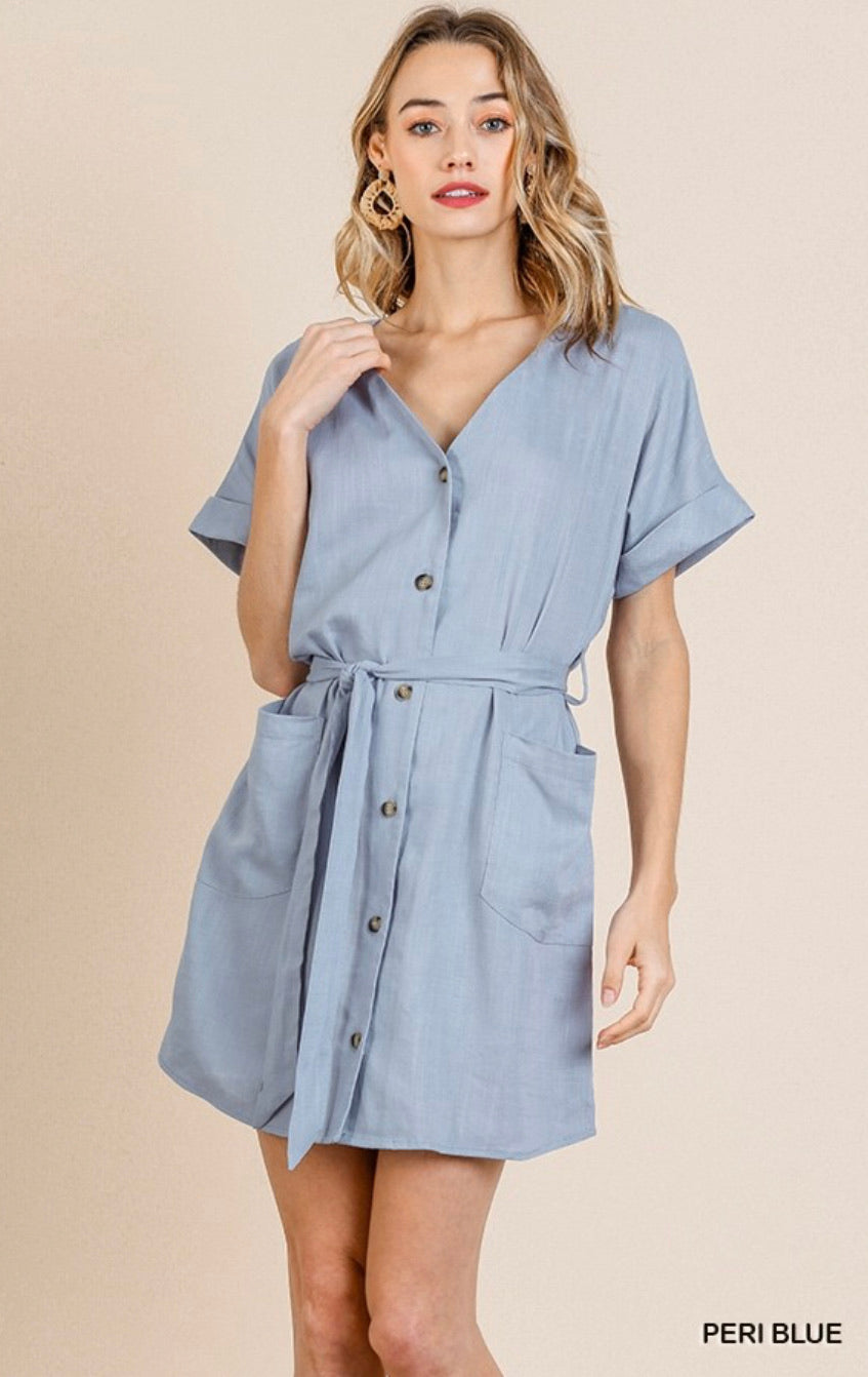 Two Pockets Linen Dress