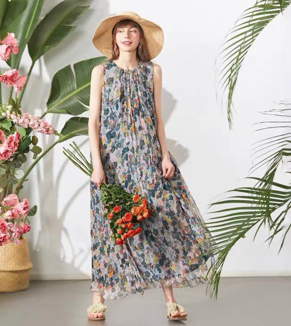 ZHUJ SILK MAXI BEACH DRESS