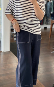 LIDI NAVY EMBRO PANT 35% POLY, 35%LINEN, 30%COTTON