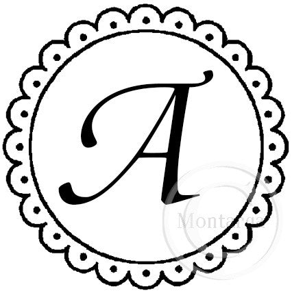 2090 A Scalloped Circle Monogram - Custom