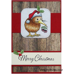 Christmas Kiwi - Wood Background