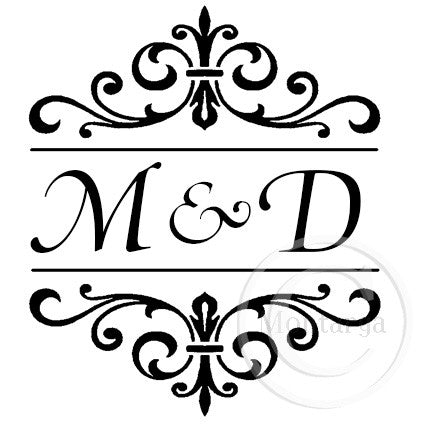 3435 C - Wedding Initials Flourish Border - Custom