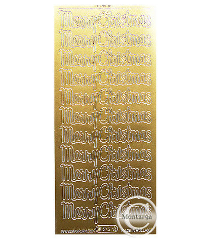 PC372G Merry Christmas Script Gold