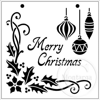 Christmas Collage Montarga Stencil Rubber Stamps By Montarga