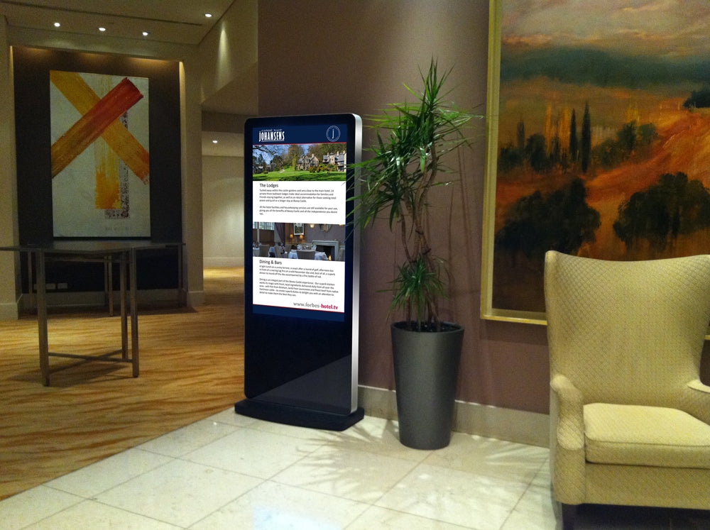 Free standing Digital poster in a hotel lobby