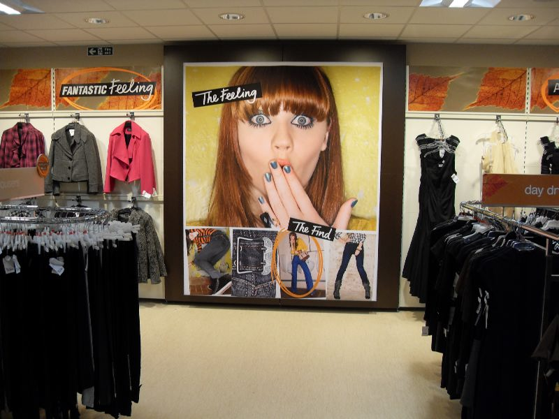 large format fabric faced light box in a retail shop