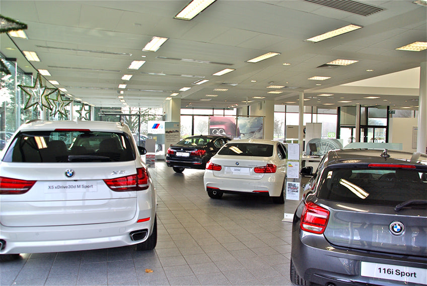 interior view of car showroom