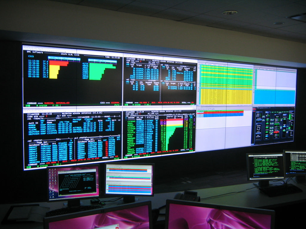 "42"" professional monitors used in a control room"