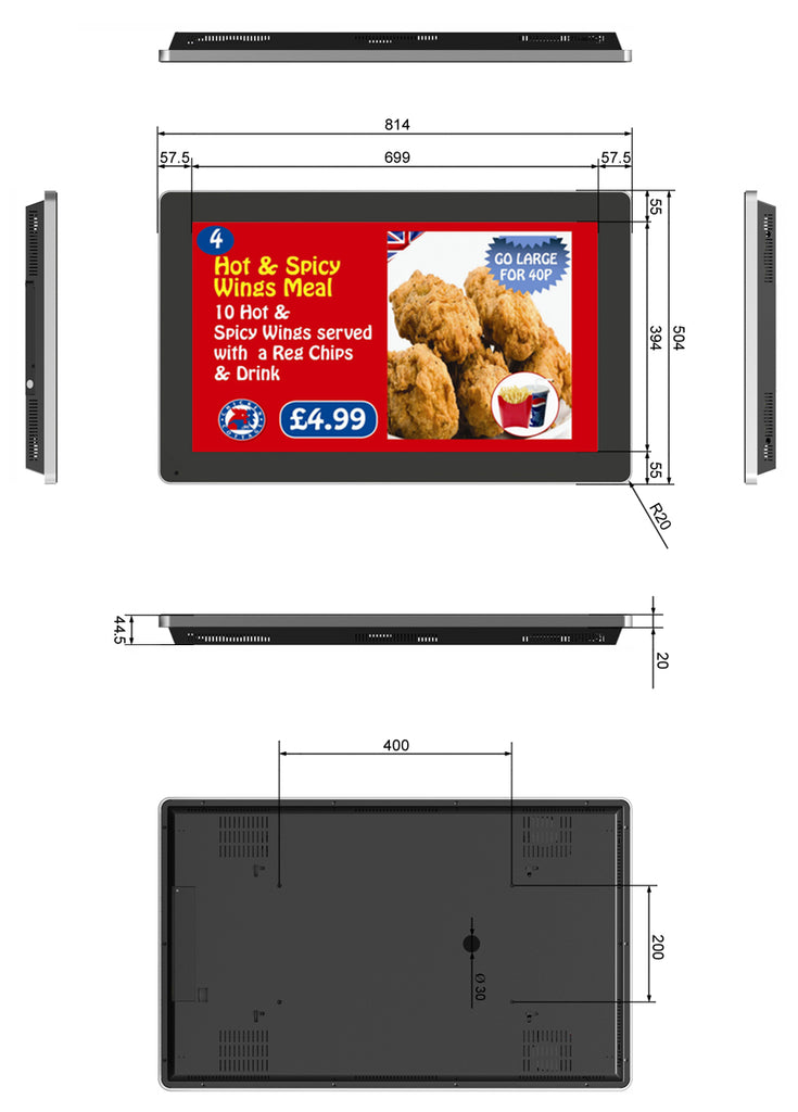 "General arrangement drawing of a 32"" digital menu board"
