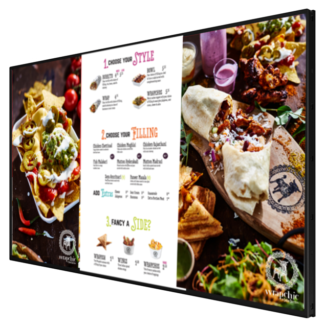 "55"" Digital menu board side view"