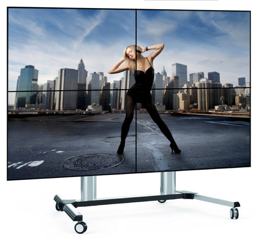 "Three quarter view of 49"" 2 x 2 Video Wall free standing display"