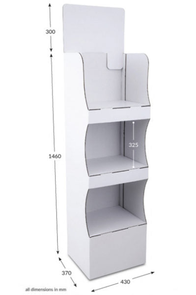 3 shelf Compact FSDU Unprinted