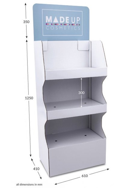 3 shelf Wide Pop-up FSDU with Printed Header