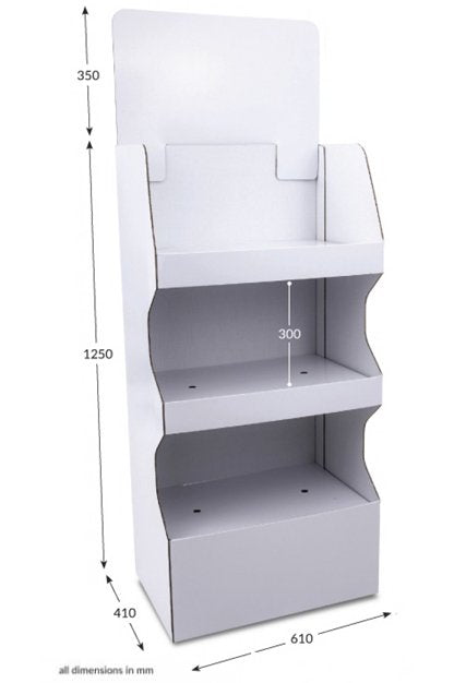 3 shelf Wide Pop-up FSDU Unprinted